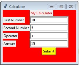 Tkinter Example Calculator
