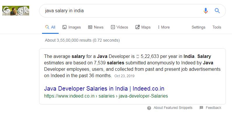 java salary in india