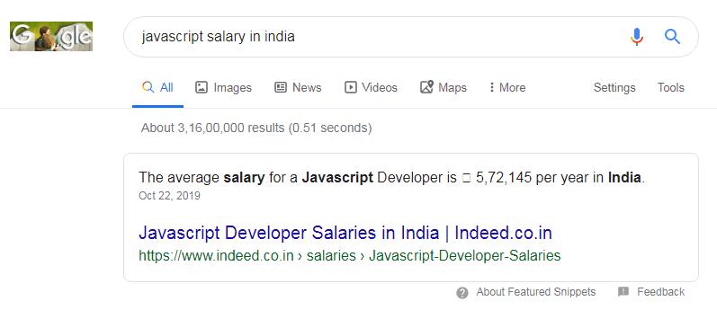 javascript salary in india hindi