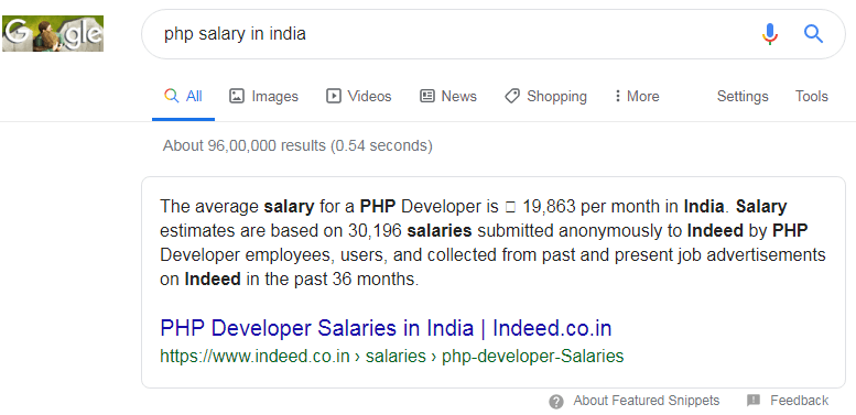 php salary in india