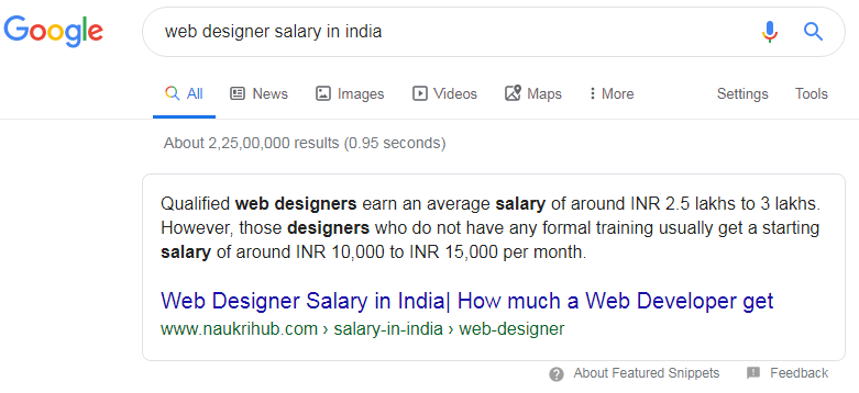 web desinger salary