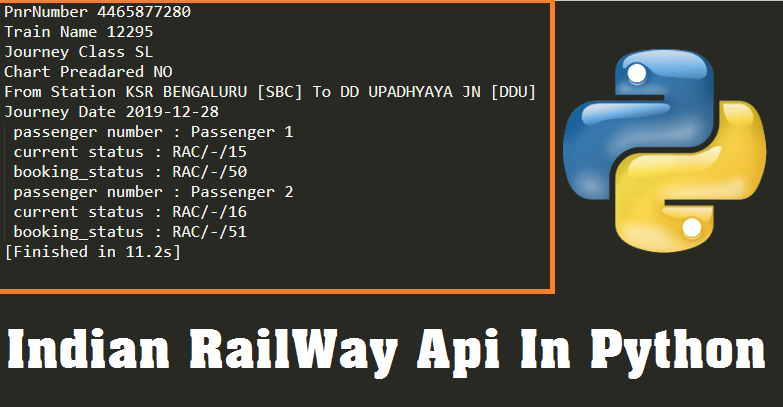 Indian railway API python