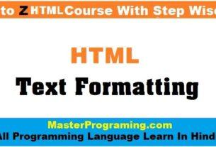 HTML Formatting In Hindi